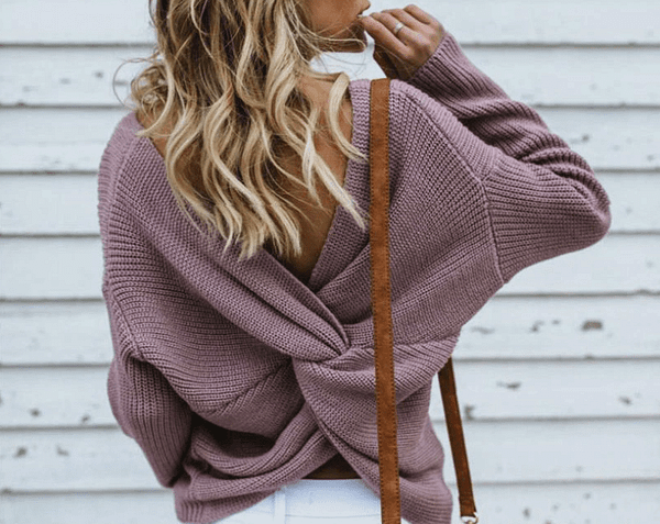 Criss Cross Cashmere Knitted Jumper Autumn & Winter Boho Styles » Original Earthwear