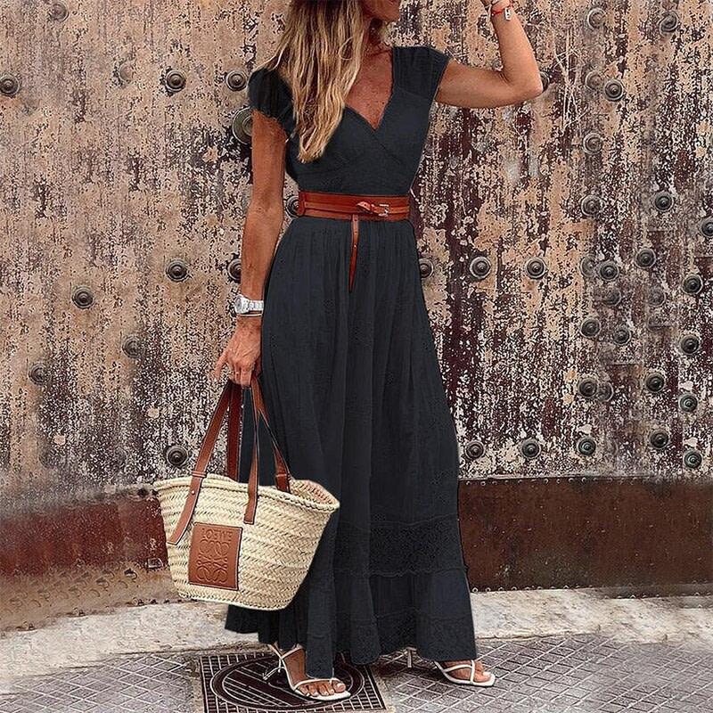 Cottage Style V Neck Lace Bohemian Dress 5