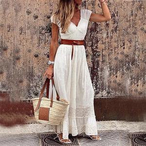 Cottage Style V Neck Lace Bohemian Dress
