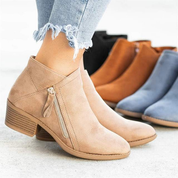 Trendy Suede Side Zipper Ankle Boots Earthwear Footwear » Original Earthwear