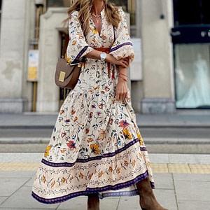 Floral Print Bohemian Long Dress Boho Style Dresses » Original Earthwear