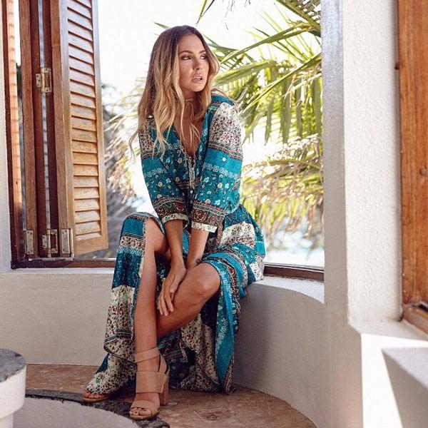 Summer Bohemian Maxi Dress Boho Style Dresses » Original Earthwear