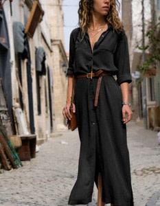 Casual Long Sleeve Boho Maxi Dress