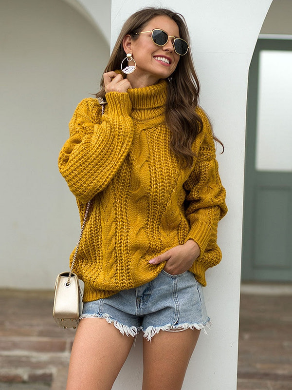 Warm Knitted Turtleneck Pullover