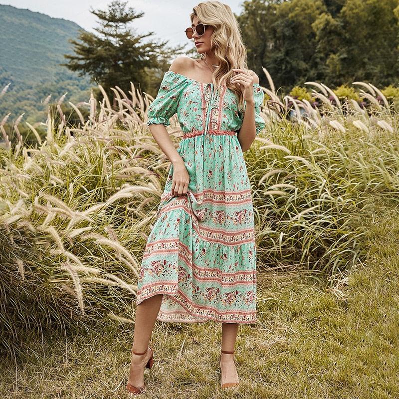 Short Sleeve Bohemian Print Maxi Dress  2